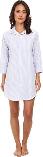 LAUREN RALPH LAUREN Women's Essentials Striped His Shirt Carissa Bengal Stripe French Blue/White Medium