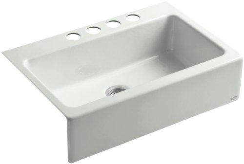 Kohler K-6546-4U-FF Dickinson Apron-Front, Undercounter Kitchen Sink with Four-Hole Oversized Centers, Sea Salt