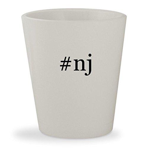 #nj - White Hashtag Ceramic 1.5oz Shot - Flemington Glass