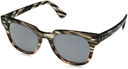 (Ray-Ban RB2168 Meteor Square Sunglasses, Striped Grey Gradient Brown/Blue Mirror, 50 mm)