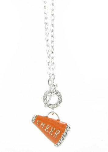 - 3D Cheer Megaphone Rhinestone Toggle Necklace - Orange Enamel with Clear Crystal