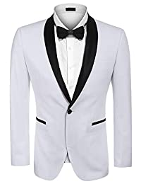 COOFANDY Men's Modern Tuxedo Jacket One Button Casual Suit Blazer Jacket for Dinner, Party, Wedding, Prom