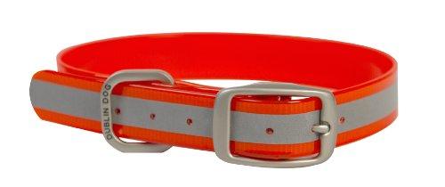 Dublin Dog 11-Inch to 14-Inch KOA Reflective Waterproof Dog Collar, Small, Blaze Orange