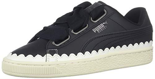 PUMA Women's Basket Heart Scallop Sneaker, Black, 7.5 M - Scallop Basket
