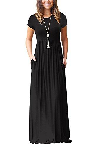 Loose Casual Short Pockets Dresses Dresses Women Sleeve Short Sleeve Charmer with Black Plain LHS Long Maxi An1qapxCw