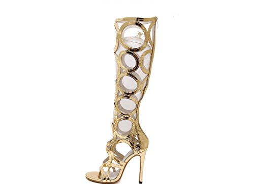 YCMDM delle donne dei sandali tacchi scarpe sexy nero 35 36 37 38 39 40 , gold , 37