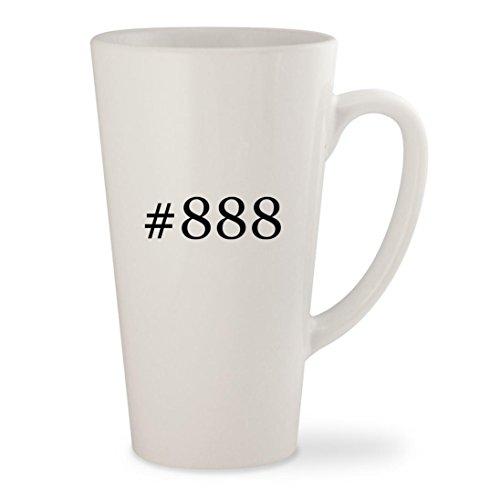 #888 - White Hashtag 17oz Ceramic Latte Mug Cup