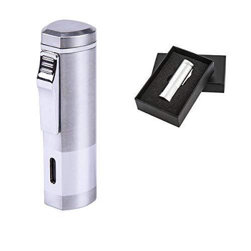 BS Cigar Lighter Cigar Punch Lighter Triple Jet Flame Butane Cigarette Torch Lighter (Silver)