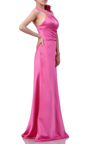 Floor Bridesmaid Natrual Occasion Dress Halter Daffodil Prom Satin Evening Special Long aq67qIr