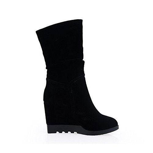 AmoonyFashion Womens Frosted Round Closed Toe High-heels Solid Boots Black hyCz6yH