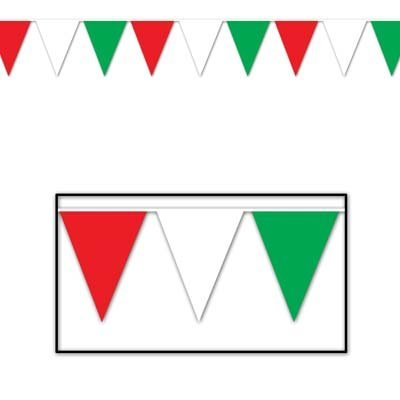 Beistle 50702-RWG Outdoor Pennant Banner, 17 by 30-Feet,