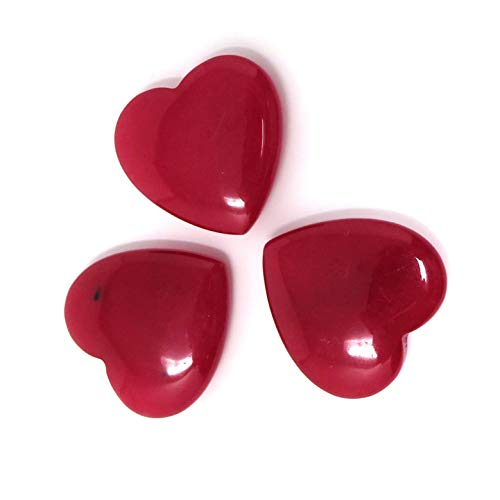 - Red Jade Stone Heart - Decorative Set - Valentines - Love - Not Perfectly Smooth - Some Slight Divots - Fun Pocket Stones - Gifts - Party - Wedding (3, 25mm)