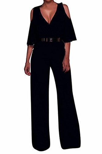Pink Queen Womens Deep V-Neck Ruffle Shoulder Long Wide Pants Black Jumosuits