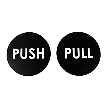 """2"""" Round Push Pull Door Sign Set - Black Engraved Acrylic, Indoor and Outdoor Durable"""