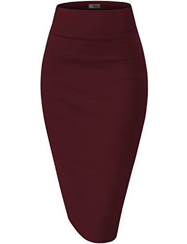 Womens Pencil Skirt for Office Wear KSK43584X 1139 Wine 2X