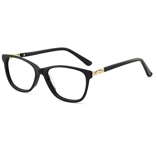 - OCCI CHIARI Stylish Women's Eyewear Clear Lens Frame Glasses Samll Circle Non Prescription Eyeglasses (C-Black+Gold)