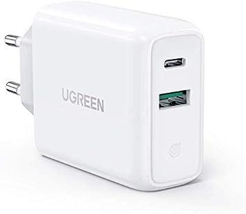 UGREEN 36W Cargador Pared con USB C Power Delivery 3.0 y USB QC 3.0, Cargador USB C Carga Rapido 18W para iPhone 9 11 X XS iPad Pro 2020 MacBook Air 13″ Soporte QC 4.0, QC 3.0 para Xiaomi Redmi Note 8