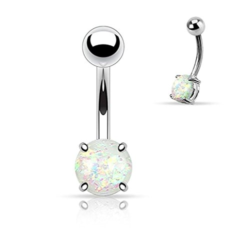 16 Gauge Belly Button Rings (Synthetic Opal Glitter Prong Set 316L Surgical Steel Belly Button Ring (Sold Individually) (White))