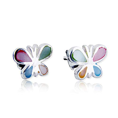 (925 Sterling Silver Mother of Pearl Little Butterfly 7 mm Post Stud)