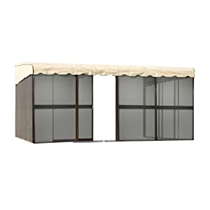 Patio Mate 10 Panel Screen Enclosure 09165, Brown With Almond Roof