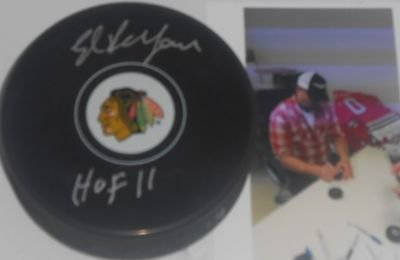 Eddie Ed Belfour Chicago Blackhawks Autographed Signed Puck HOF 11 A1 SidsGraphs