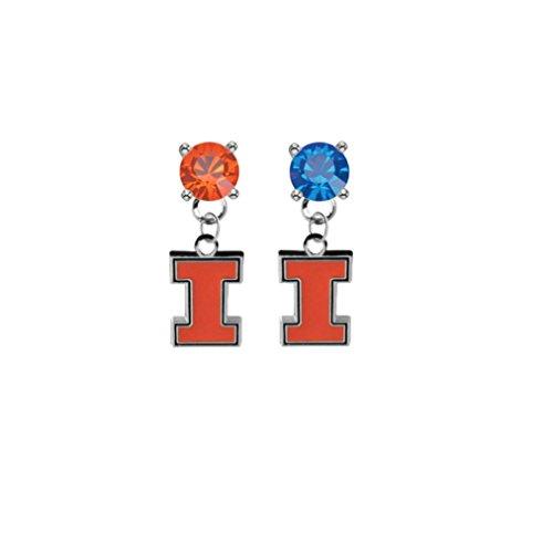 Illinois Fighting Illini Orange & Blue Crystal Stud Post Dangle Earrings