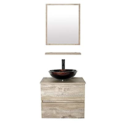 """eclife 24"""" Bathroom Vanity Sink Combo Wall Mounted Natural Cabinet Two Drawers Vanity Set Brown Round Tempered Glass Vessel Sink Top, W/ORB Faucet, Pop Up Drain & Mirror (A09E02AK) - ❤WATER SAVE: 1.5 GPM faucet aerator help to save 30% water; 3/8'' Water supply hose; 23-5/8"""" Long water supply lines;ORB faucet; Pop up drain. ❤ECO-FRIENDLY: MDF eco-friendly material used to make vanity more durable and sturdy; 15mm Thickness and natural color board, easy to clean and wear-resistance.(Attention please: Because of handmade, Vanity's surface is smooth to touch, while looks like cracks, and different vanities, cracks will look like a little difference.) ❤EASY to INSTALL: Need to be self-assemble, delicate design make it easy to assemble; Small body includes maximized storage. (This item will be send with 2 packages.) - bathroom-vanities, bathroom-fixtures-hardware, bathroom - 31ffxNWN1XL. SS400  -"""