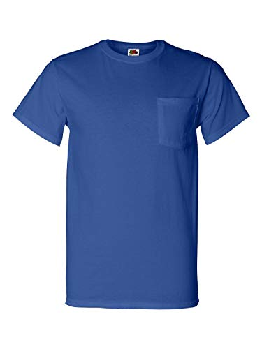 Fruit of the Loom 5.6 oz Cotton Pocket T-Shirt - ROYAL - (Fruit Of The Loom Heavyweight T-shirt)