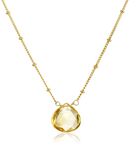 (Satya Jewelry Gold Citrine Drop Pendant Necklace (18-Inch))