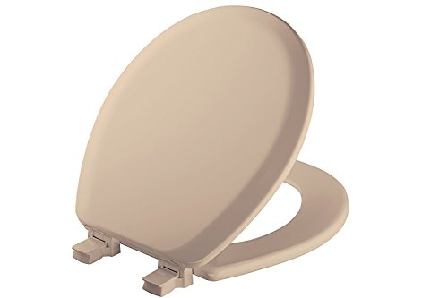 MAYFAIR Toilet Seat will Never Loosen and Easily Remove, ROUND, Durable Enameled Wood, Beige, 41EC 078