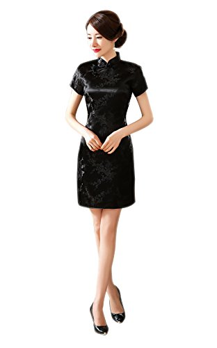 ACVIP Women's Cherry Brocade Short Sleeves Mini Bodycon Chinese Qipao Dress (8, black-02)