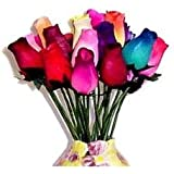 24 Small Bud Wooden Roses Bouquet- Assorted Colors