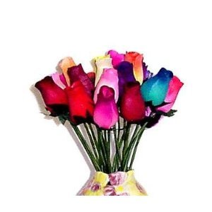 24 Small Bud Wooden Roses Bouquet- Assorted Colors by Big City Bargains