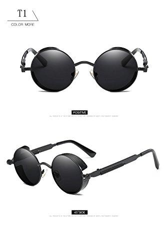 góticas T1 marco gran redondas para metal gafas gafas tamaño con protección UV400 hombres sol mujeres de retro de de reflectante de Steampunk Vintage ATNKE lente HD q6PXxat46w