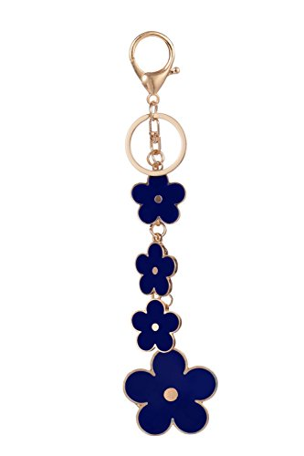 - Giftale Women's Flower Bag Charms Enameled Keychain Purse Accessories, (Blue)