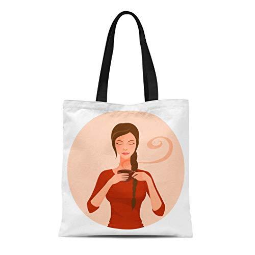 (Semtomn Canvas Tote Bag Shoulder Bags Adult Girl of Beautiful Woman Enjoying Black Tea Coffee Women's Handle Shoulder Tote Shopper Handbag)