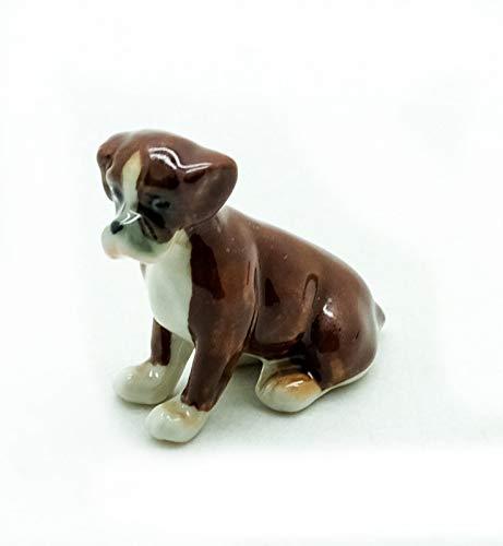 2 Tiny Brown//White Pug Dogs Dollhouse Miniature Ceramic Animal Figurines