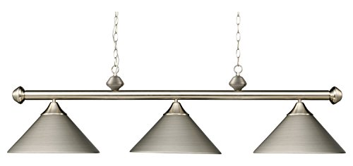 Casual Traditions 3 Light LED Billiard in Satin Nickel with Matching Metal Shades (3 Light Casual Traditions)
