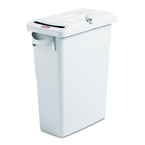 Rubbermaid Commercial 9W25LGY Slim Jim Confidential Document Receptacle w/Lid, Rectangle, 15.875gal, Lt Gray