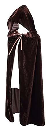 BIGXIAN Kids Hooded Velvet Cloak Halloween Christmas Fancy Cape for Kids (Brown)