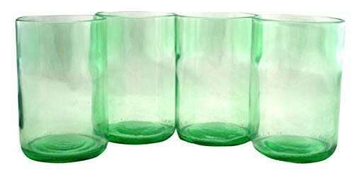 Tumbler Drinking Glasses Made From Recycled Wine Bottles 16 OZ - set of 4 (Mint, 16 Oz)