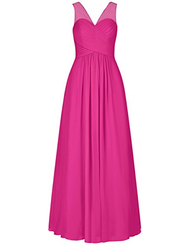 (EDressy V-Neck Chiffon Bridesmaid Dresses Long Evening Formal Gowns Wedding Party Prom Dress Fuchsia US 28W)