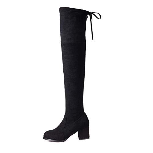 Liuxc High High High Heels Dicke Fersenstiefel , Stiefel im Winter, dick und dick, mit elastischen Frauen, Frauen c2d017