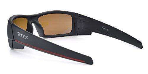 BNUS Ranger Rectangular Sports Sunglasses polarized for men women Italian made Corning natural glass lens (Frame: Matte Black - Red L / Lens: Brown B15, Polarized)
