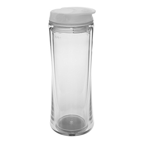 Flip Top: Double Wall Acrylic Tumbler with Screw On, No Spill Lid and Flip Closure., Clear