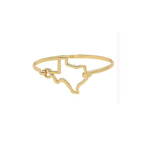 Rosemarie Collections Women's Texas State Charm Hook Bangle Bracelet (Gold - Austin Macy