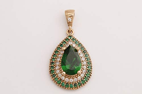 Turkish Handmade Jewelry Small Drop Shape Pear Cut Emerald and Round Cut Topaz 925 Sterling Silver Pendant