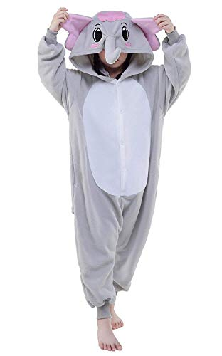 AGoGo Women's Sleepwear Unisex Halloween Elephant Party Children Cosplay Pyjamas Christmas Costume (125#,Grey Elephant)