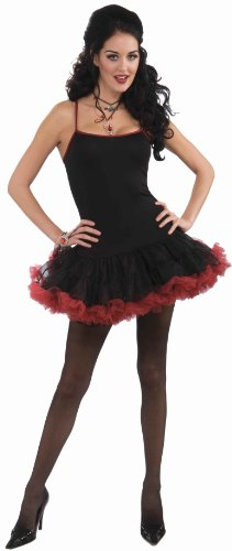 Vampiress Ruffled Skirt Adult Costumes (Forum Novelties Vampiress Petticoat Dress, Black/Red, Standard Costume)