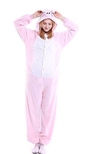 Peppa Pig Adult Costumes (YACHUN Uinisex Adult Pajamas Onesie Kigurumi Cosplay Costumes Animal Jumpsuit Peppa Pig-S)